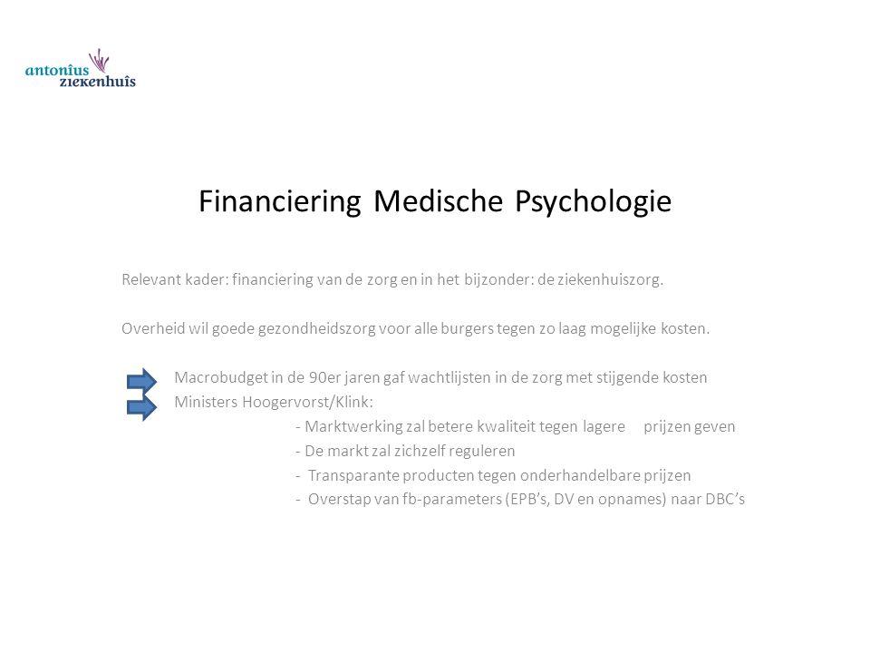Financiering Medische Psychologie Relevant kader: financiering van de zorg en in het bijzonder: de ziekenhuiszorg. Overheid wil goede gezondheidszorg