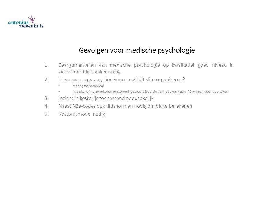 Gevolgen voor medische psychologie 1.Beargumenteren van medische psychologie op kwalitatief goed niveau in ziekenhuis blijkt vaker nodig. 2.Toename zo
