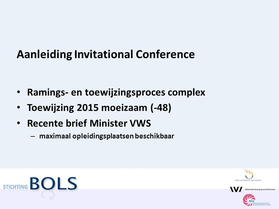 Aanleiding Invitational Conference Ramings- en toewijzingsproces complex Toewijzing 2015 moeizaam (-48) Recente brief Minister VWS – maximaal opleidin