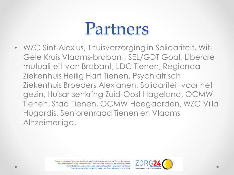 Partners WZC Sint-Alexius, Thuisverzorging in Solidariteit, Wit- Gele Kruis Vlaams-brabant, SEL/GDT Goal, Liberale mutualiteit van Brabant, LDC Tienen