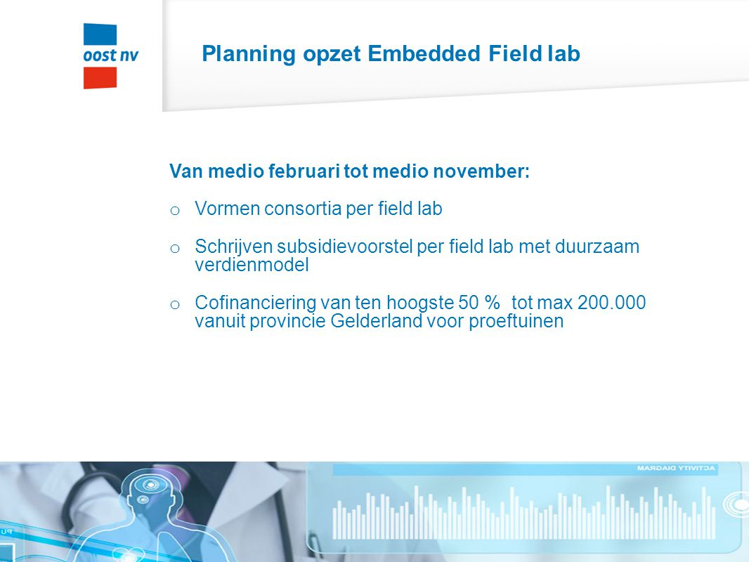 Planning opzet Embedded Field lab Van medio februari tot medio november: o Vormen consortia per field lab o Schrijven subsidievoorstel per field lab met duurzaam verdienmodel o Cofinanciering van ten hoogste 50 % tot max 200.000 vanuit provincie Gelderland voor proeftuinen