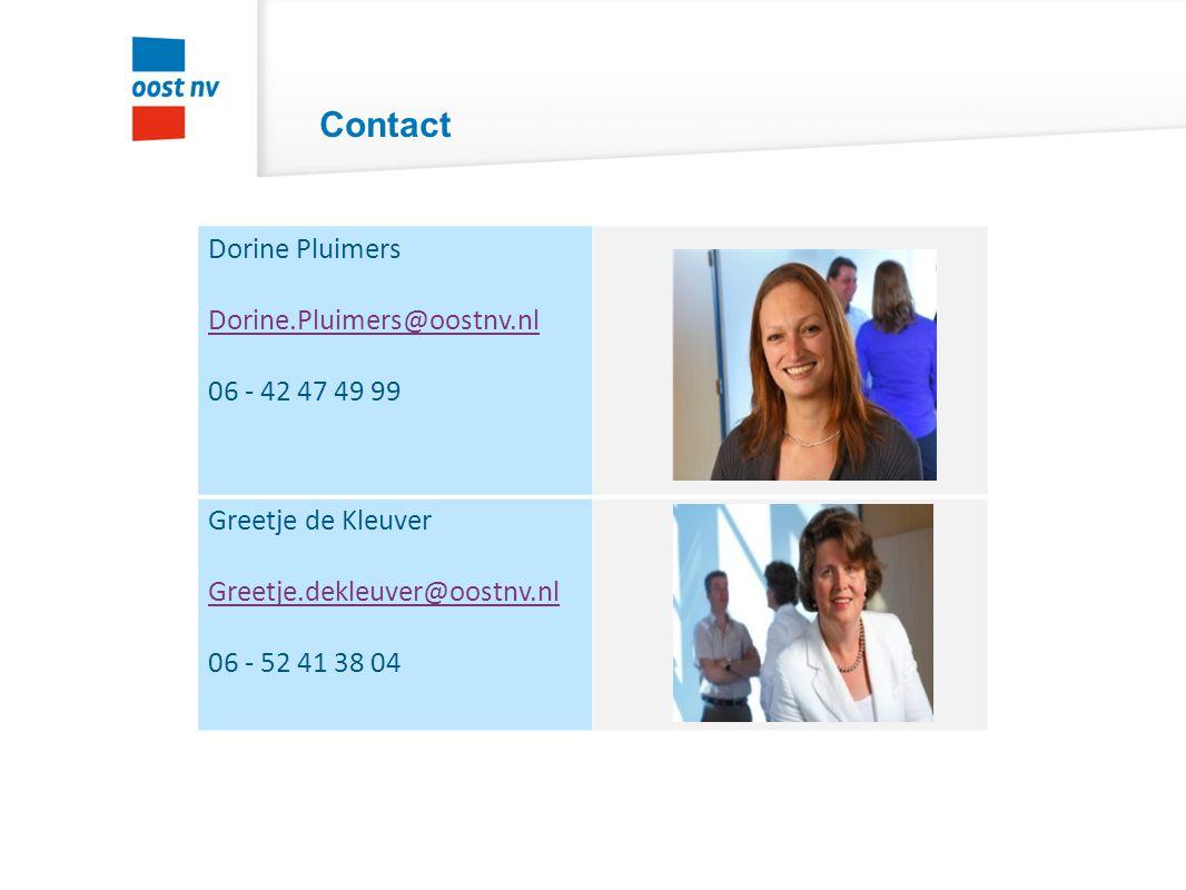 Contact Dorine Pluimers Dorine.Pluimers@oostnv.nl 06 - 42 47 49 99 Greetje de Kleuver Greetje.dekleuver@oostnv.nl 06 - 52 41 38 04