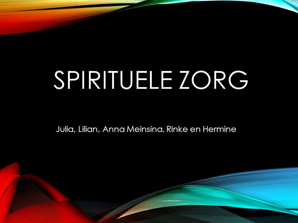 SPIRITUELE ZORG Julia, Lilian, Anna Meinsina, Rinke en Hermine