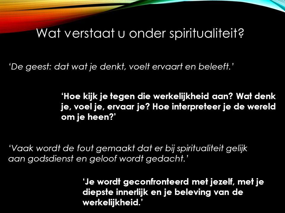 'De geest: dat wat je denkt, voelt ervaart en beleeft.' Wat verstaat u onder spiritualiteit? 'Hoe kijk je tegen die werkelijkheid aan? Wat denk je, vo