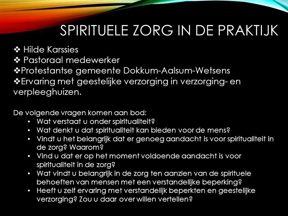  Hilde Karssies  Pastoraal medewerker  Protestantse gemeente Dokkum-Aalsum-Wetsens  Ervaring met geestelijke verzorging in verzorging- en verpleeg
