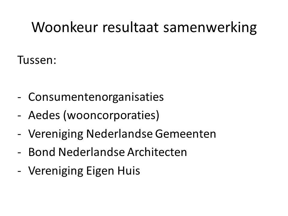 Woonkeur resultaat samenwerking Tussen: -Consumentenorganisaties -Aedes (wooncorporaties) -Vereniging Nederlandse Gemeenten -Bond Nederlandse Architec