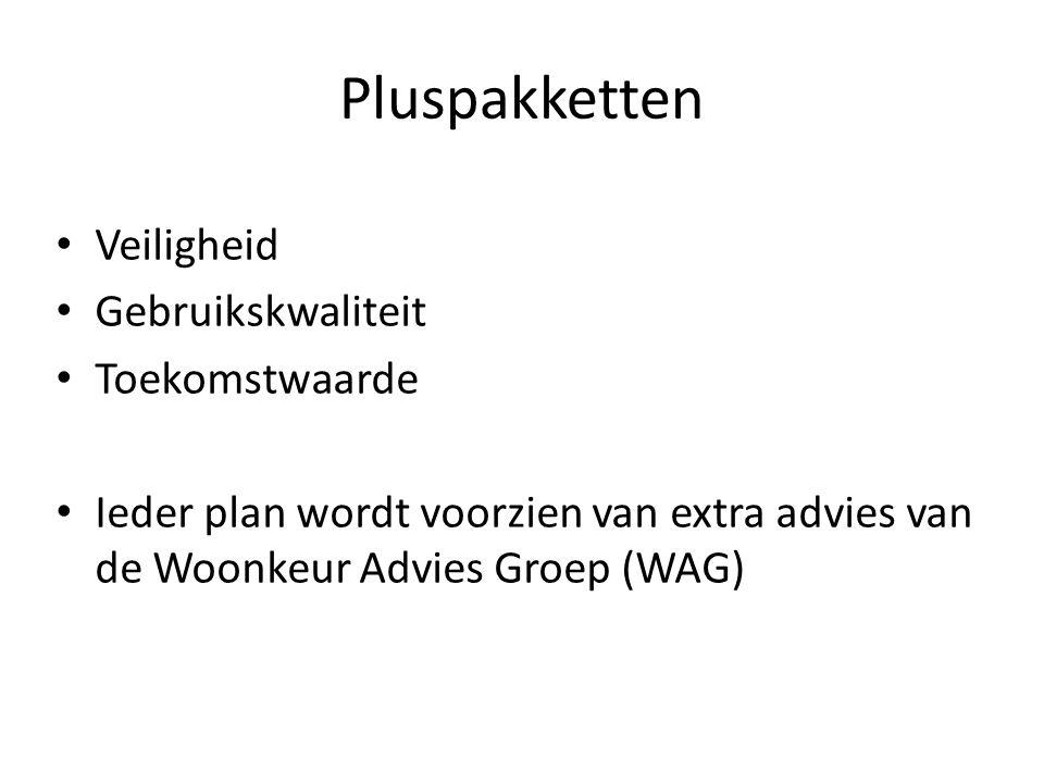 Pluspakketten Veiligheid Gebruikskwaliteit Toekomstwaarde Ieder plan wordt voorzien van extra advies van de Woonkeur Advies Groep (WAG)