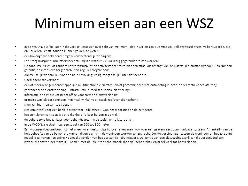 Minimum eisen aan een WSZ In de WOONvisie (zie later in dit verslag) staat een overzicht van minimum, dat in wijken zoals Dommelen, Valkenswaard West,