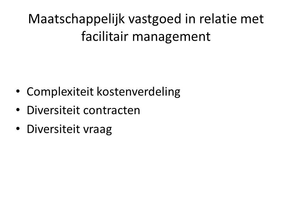 Maatschappelijk vastgoed in relatie met facilitair management Complexiteit kostenverdeling Diversiteit contracten Diversiteit vraag