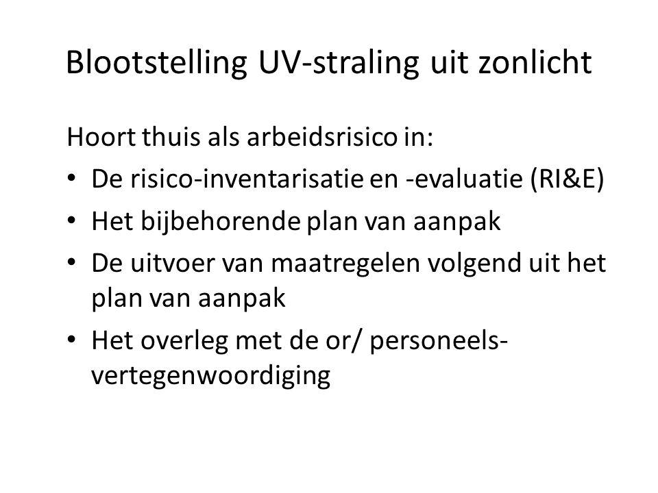 Blootstelling UV-straling uit zonlicht Hoort thuis als arbeidsrisico in: De risico-inventarisatie en -evaluatie (RI&E) Het bijbehorende plan van aanpak De uitvoer van maatregelen volgend uit het plan van aanpak Het overleg met de or/ personeels- vertegenwoordiging