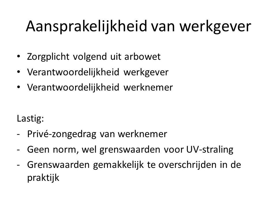 Aansprakelijkheid van werkgever Zorgplicht volgend uit arbowet Verantwoordelijkheid werkgever Verantwoordelijkheid werknemer Lastig: -Privé-zongedrag van werknemer -Geen norm, wel grenswaarden voor UV-straling -Grenswaarden gemakkelijk te overschrijden in de praktijk