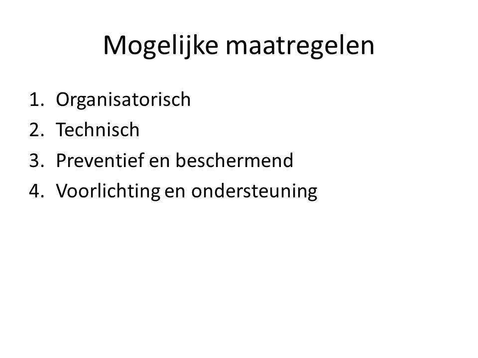 Mogelijke maatregelen 1.Organisatorisch 2.Technisch 3.Preventief en beschermend 4.Voorlichting en ondersteuning