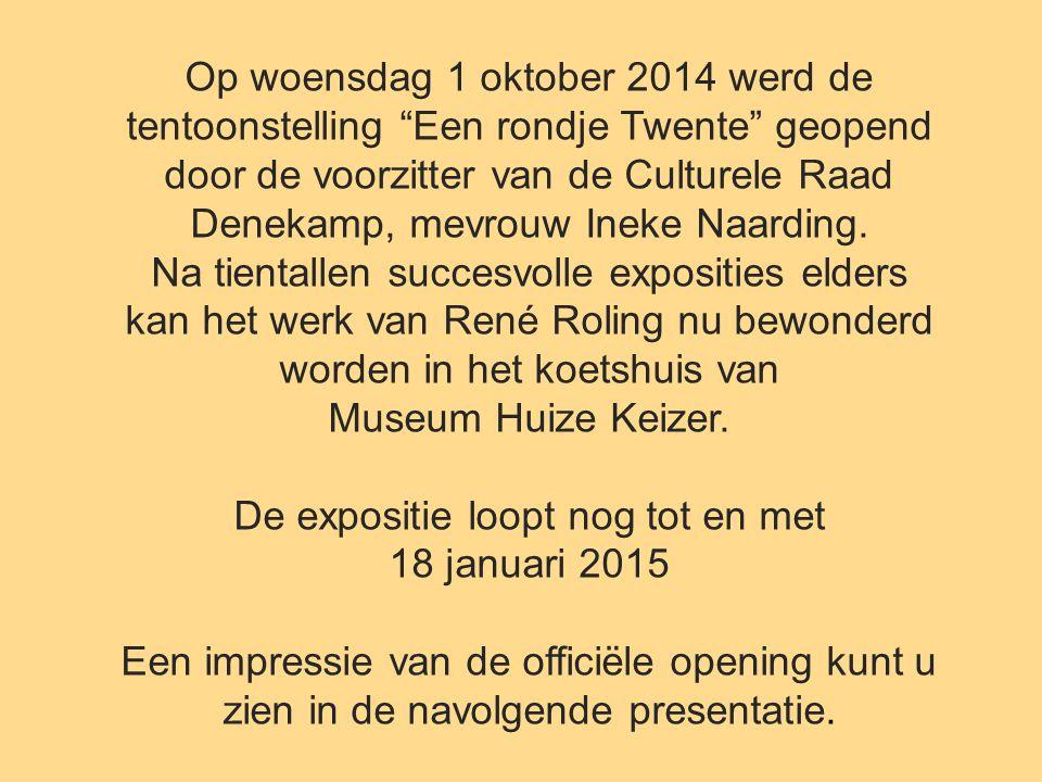 """Op woensdag 1 oktober 2014 werd de tentoonstelling """"Een rondje Twente"""" geopend door de voorzitter van de Culturele Raad Denekamp, mevrouw Ineke Naardi"""
