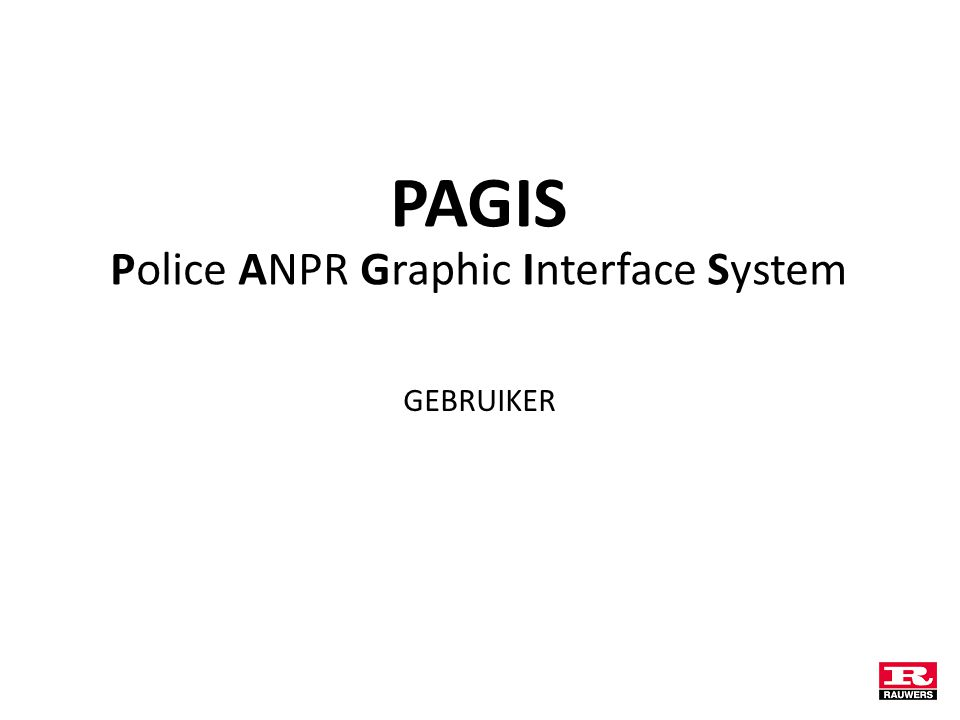PAGIS Police ANPR Graphic Interface System GEBRUIKER