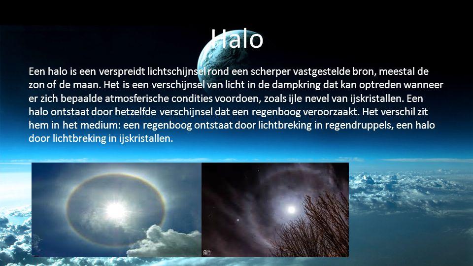 Halo Een halo is een verspreidt lichtschijnsel rond een scherper vastgestelde bron, meestal de zon of de maan. Het is een verschijnsel van licht in de