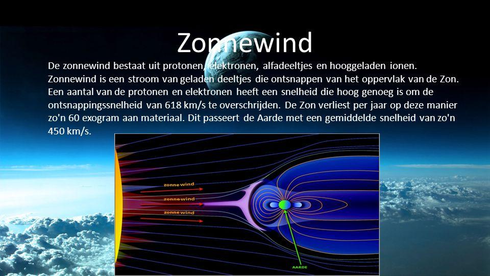 Zonnewind De zonnewind bestaat uit protonen, elektronen, alfadeeltjes en hooggeladen ionen. Zonnewind is een stroom van geladen deeltjes die ontsnappe