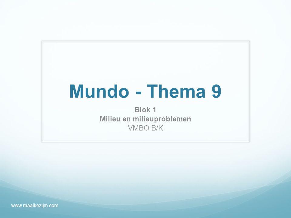 Mundo - Thema 9 Blok 1 Milieu en milieuproblemen VMBO B/K www.maaikezijm.com