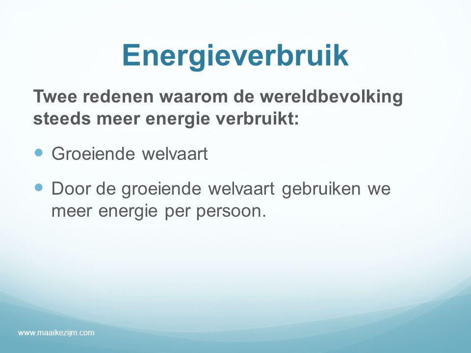 Energieverbruik Twee redenen waarom de wereldbevolking steeds meer energie verbruikt: Groeiende welvaart Door de groeiende welvaart gebruiken we meer energie per persoon.