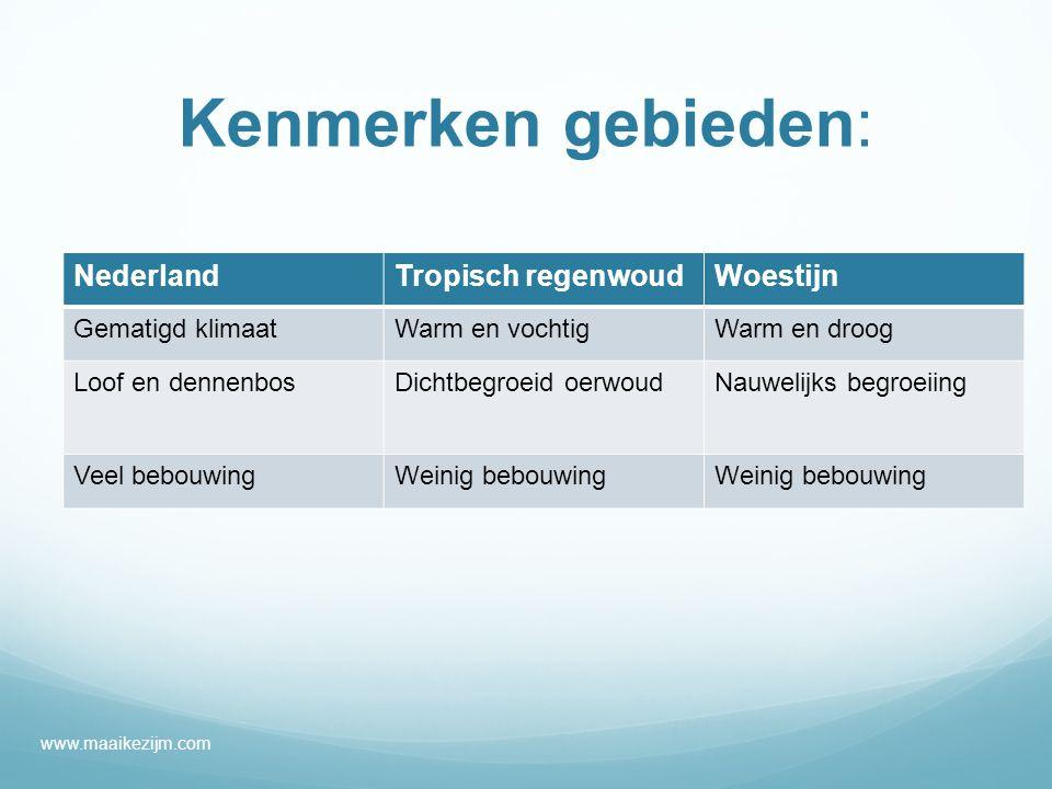 Kenmerken gebieden: NederlandTropisch regenwoudWoestijn Gematigd klimaatWarm en vochtigWarm en droog Loof en dennenbosDichtbegroeid oerwoudNauwelijks begroeiing Veel bebouwingWeinig bebouwing www.maaikezijm.com