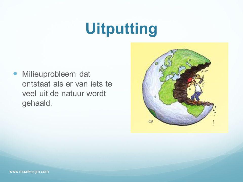 Uitputting Milieuprobleem dat ontstaat als er van iets te veel uit de natuur wordt gehaald.