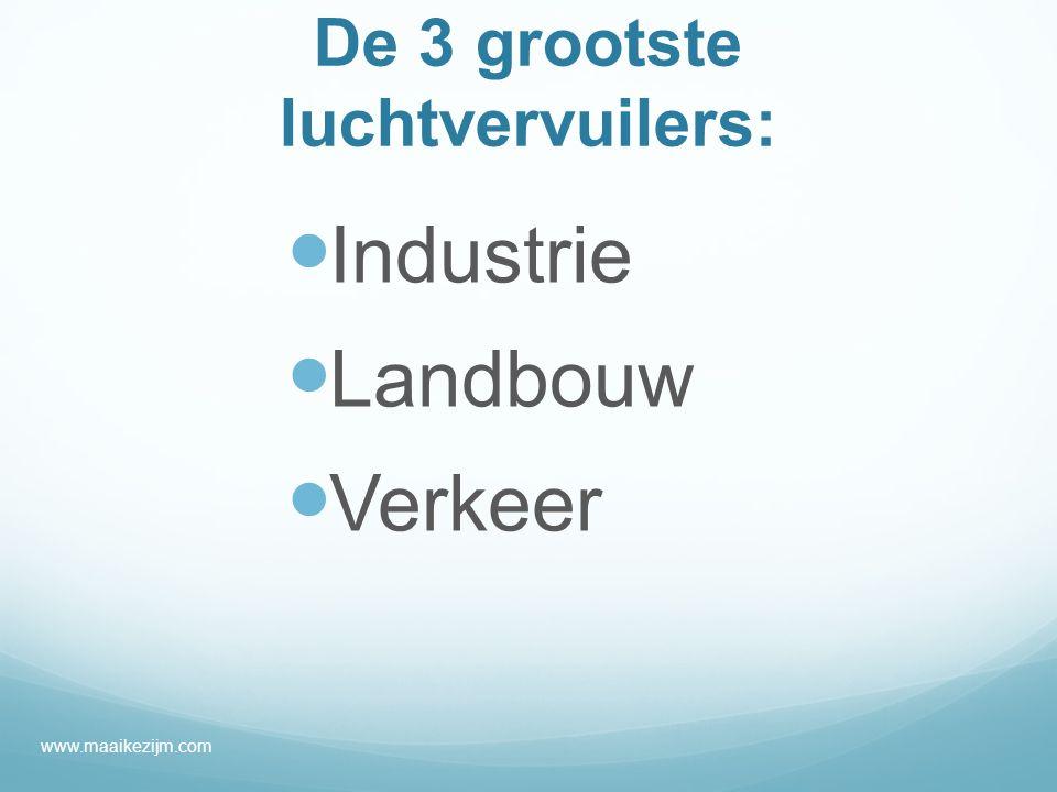De 3 grootste luchtvervuilers: Industrie Landbouw Verkeer www.maaikezijm.com