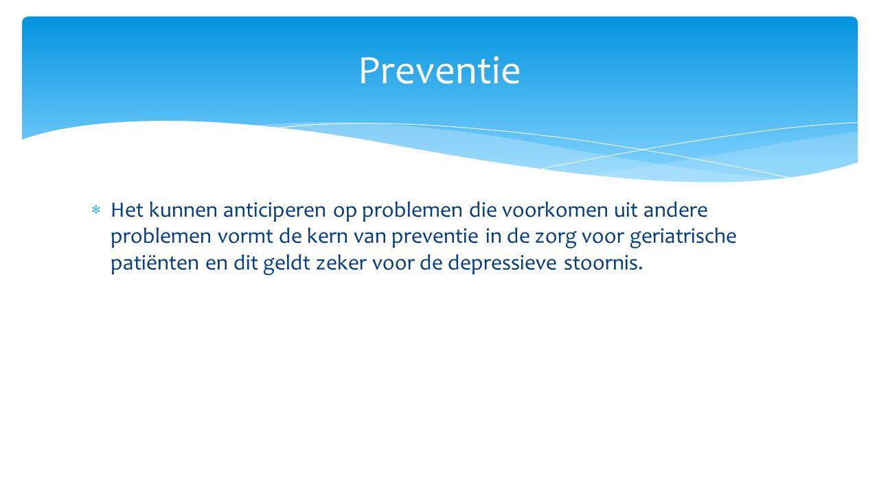  Het kunnen anticiperen op problemen die voorkomen uit andere problemen vormt de kern van preventie in de zorg voor geriatrische patiënten en dit gel