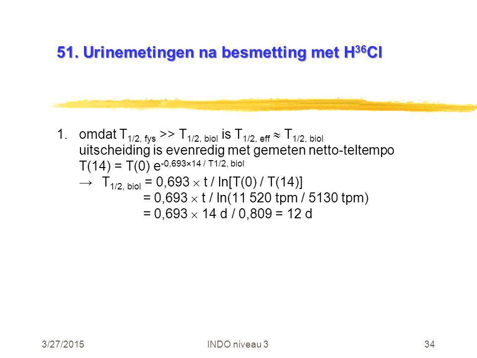 3/27/2015INDO niveau 334 51. Urinemetingen na besmetting met H 36 Cl 1.omdat T 1/2, fys >> T 1/2, biol is T 1/2, eff  T 1/2, biol uitscheiding is eve