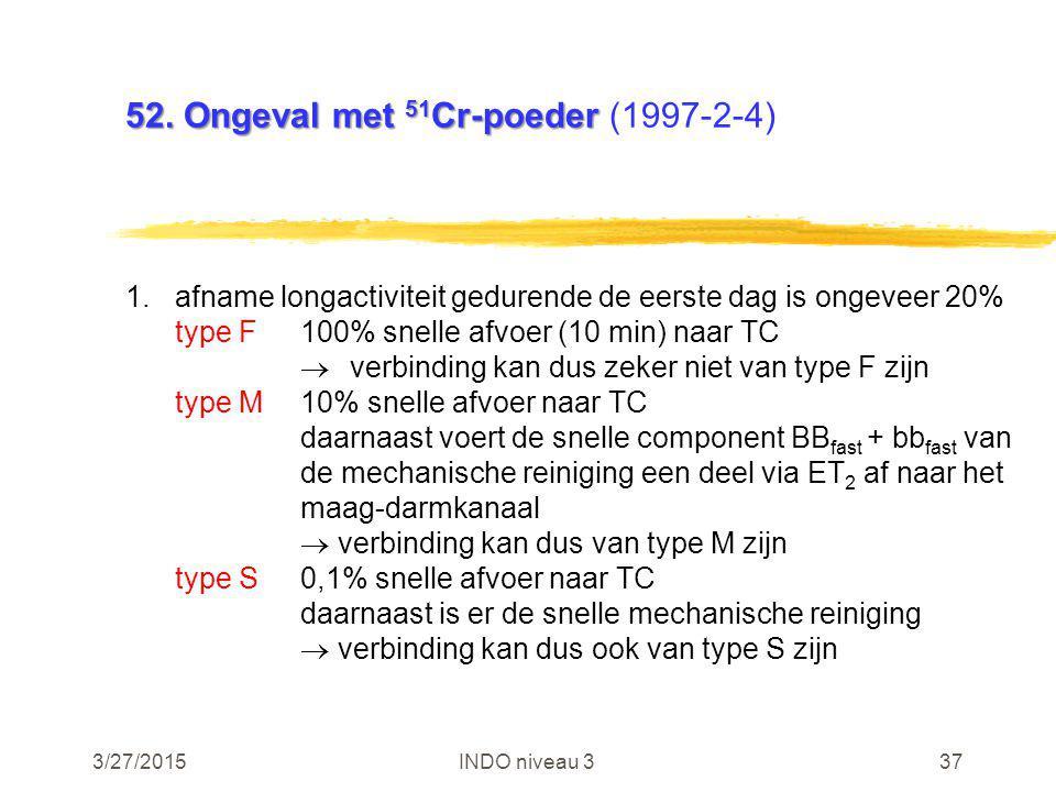 3/27/2015INDO niveau 337 52. Ongeval met 51 Cr-poeder 52. Ongeval met 51 Cr-poeder (1997-2-4) 1.afname longactiviteit gedurende de eerste dag is ongev