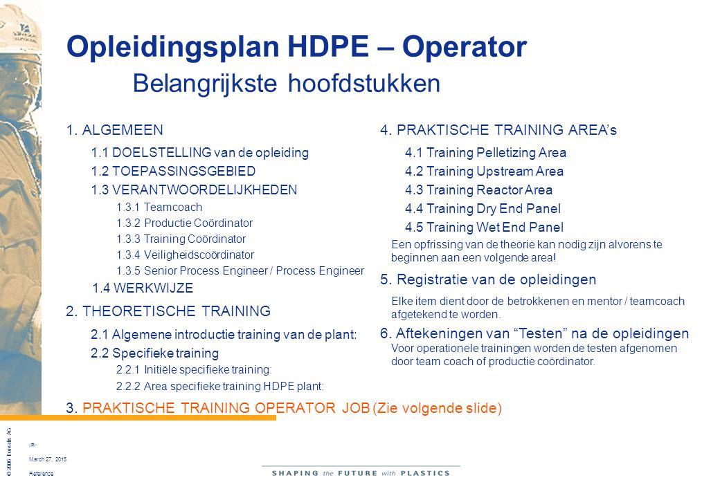 Reference © 2006 Borealis AG 13 March 27, 2015 Opleidingsplan HDPE – Operator Belangrijkste hoofdstukken 1. ALGEMEEN 1.1 DOELSTELLING van de opleiding