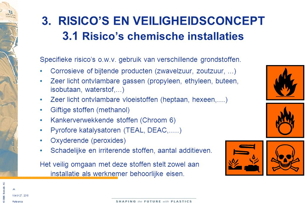 Reference © 2006 Borealis AG 27 March 27, 2015 3. RISICO'S EN VEILIGHEIDSCONCEPT 3.1 Risico's chemische installaties Specifieke risico's o.w.v. gebrui