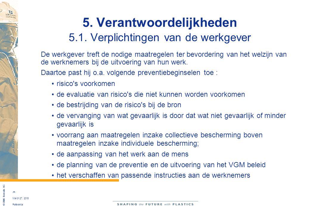Reference © 2006 Borealis AG 33 March 27, 2015 5. Verantwoordelijkheden 5.1. Verplichtingen van de werkgever De werkgever treft de nodige maatregelen