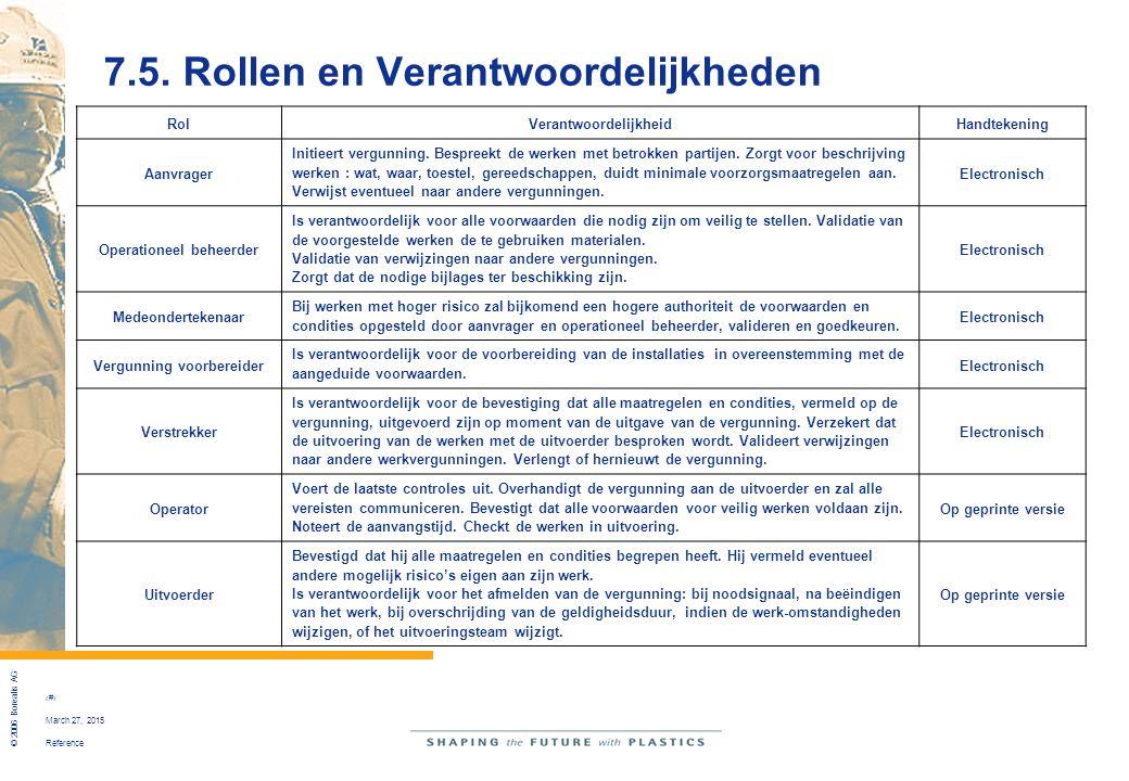 Reference © 2006 Borealis AG 42 March 27, 2015 7.5. Rollen en Verantwoordelijkheden RolVerantwoordelijkheidHandtekening Aanvrager Initieert vergunning