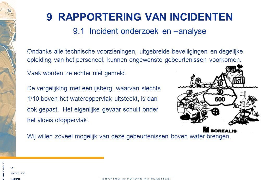 Reference © 2006 Borealis AG 44 March 27, 2015 9 RAPPORTERING VAN INCIDENTEN 9.1 Incident onderzoek en –analyse Ondanks alle technische voorzieningen,