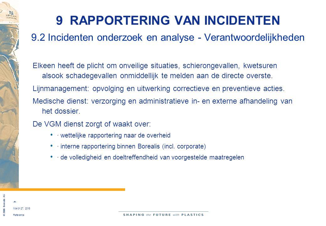 Reference © 2006 Borealis AG 45 March 27, 2015 9 RAPPORTERING VAN INCIDENTEN 9.2 Incidenten onderzoek en analyse - Verantwoordelijkheden Elkeen heeft
