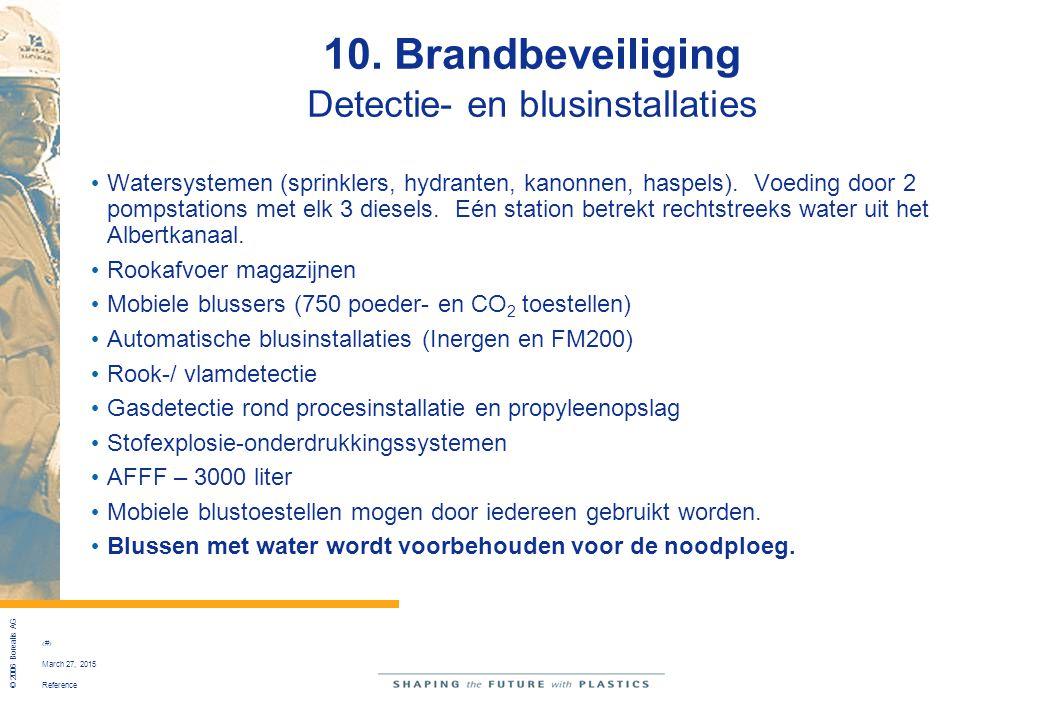 Reference © 2006 Borealis AG 46 March 27, 2015 10. Brandbeveiliging Detectie- en blusinstallaties Watersystemen (sprinklers, hydranten, kanonnen, hasp