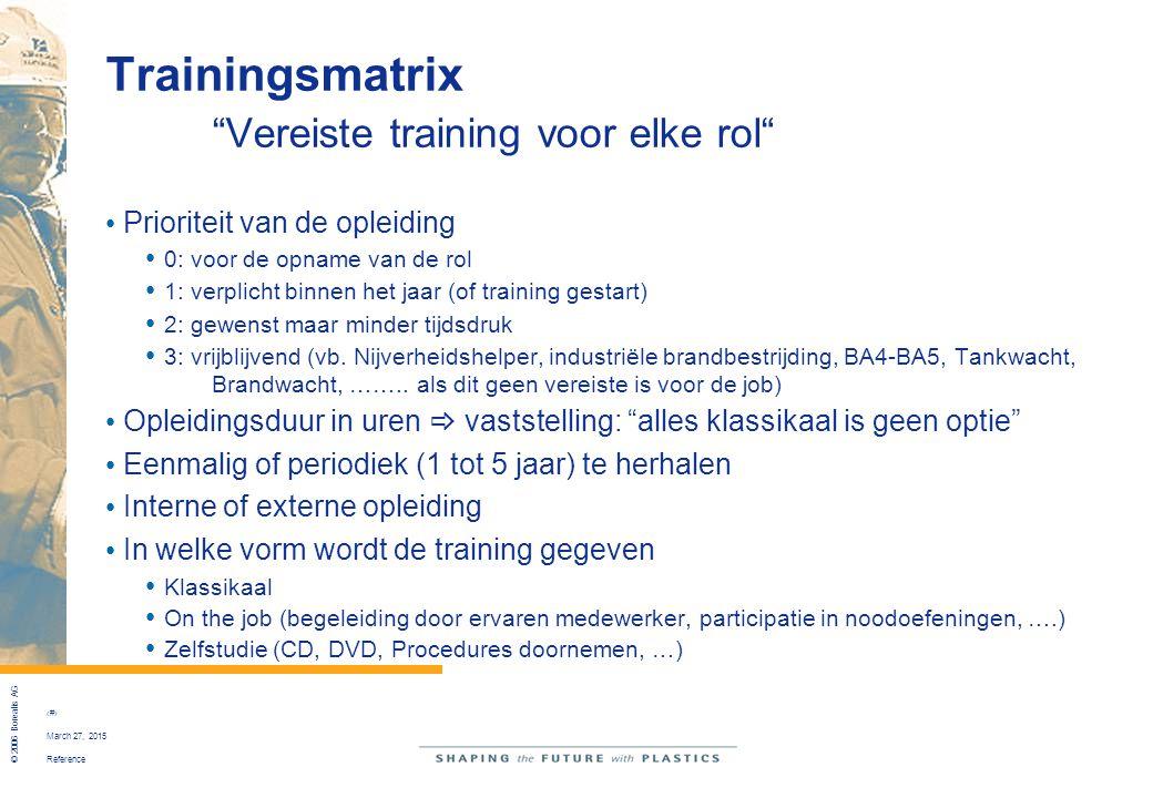 """Reference © 2006 Borealis AG 9 March 27, 2015 Trainingsmatrix """"Vereiste training voor elke rol"""" Prioriteit van de opleiding 0: voor de opname van de r"""
