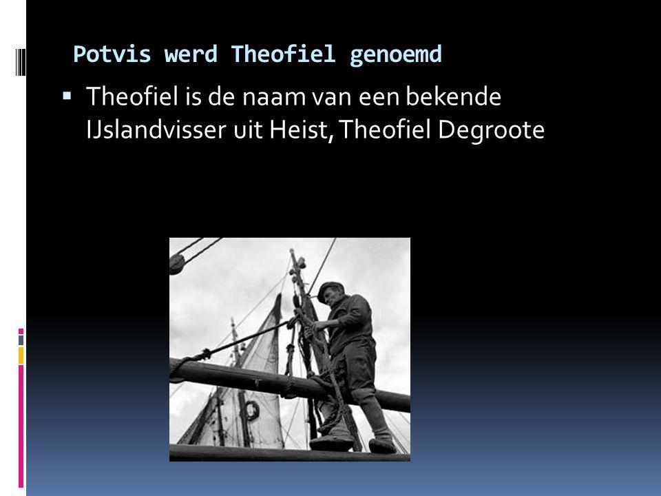 Potvis werd Theofiel genoemd  Theofiel is de naam van een bekende IJslandvisser uit Heist, Theofiel Degroote