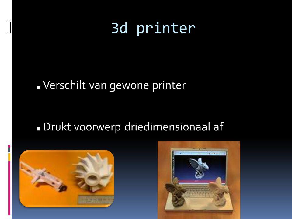 3d printer. Verschilt van gewone printer. Drukt voorwerp driedimensionaal af