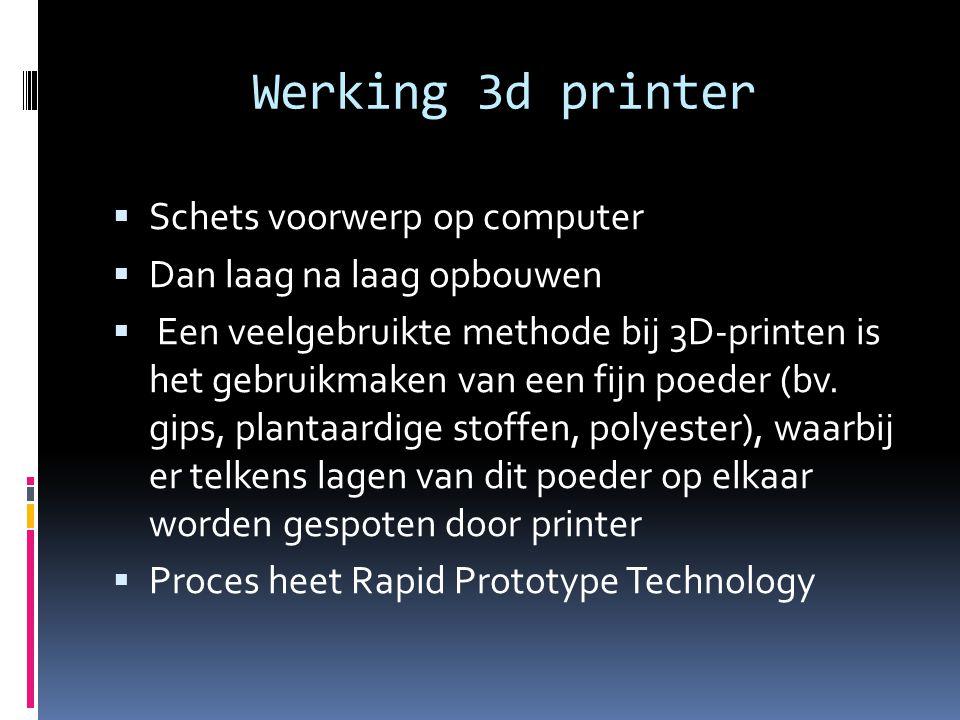 Werking 3d printer SSchets voorwerp op computer DDan laag na laag opbouwen  Een veelgebruikte methode bij 3D-printen is het gebruikmaken van een fijn poeder (bv.