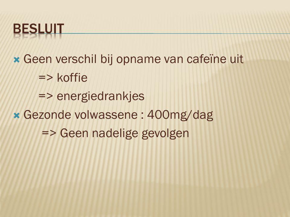  Geen verschil bij opname van cafeïne uit => koffie => energiedrankjes  Gezonde volwassene : 400mg/dag => Geen nadelige gevolgen