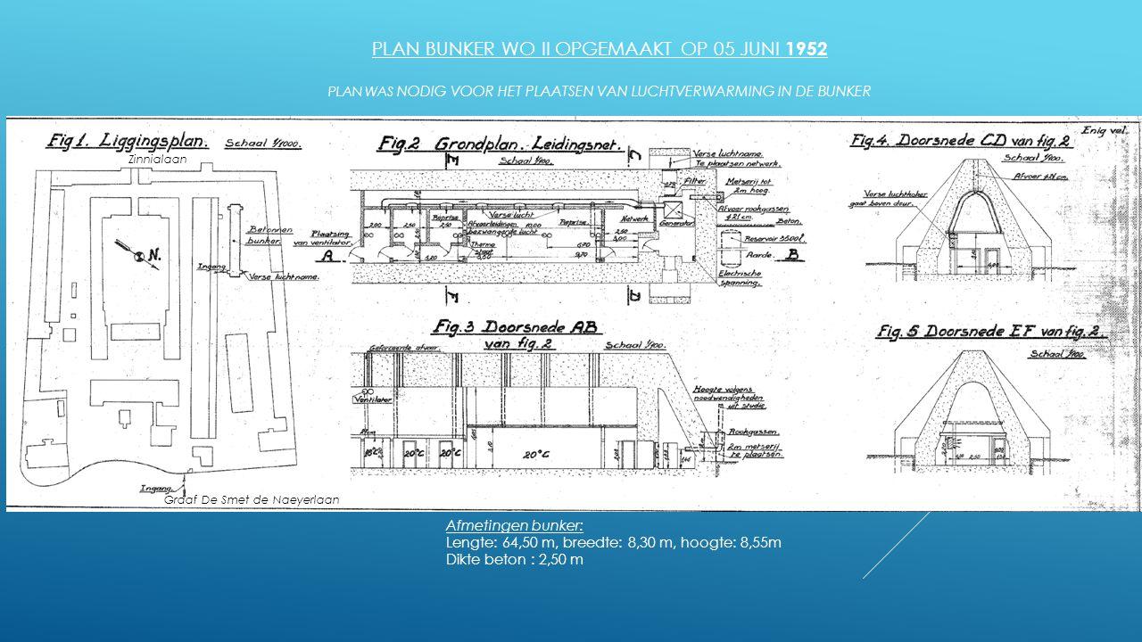 PLAN BUNKER WO II OPGEMAAKT OP 05 JUNI 1952 PLAN WAS NODIG VOOR HET PLAATSEN VAN LUCHTVERWARMING IN DE BUNKER Afmetingen bunker: Lengte: 64,50 m, bree