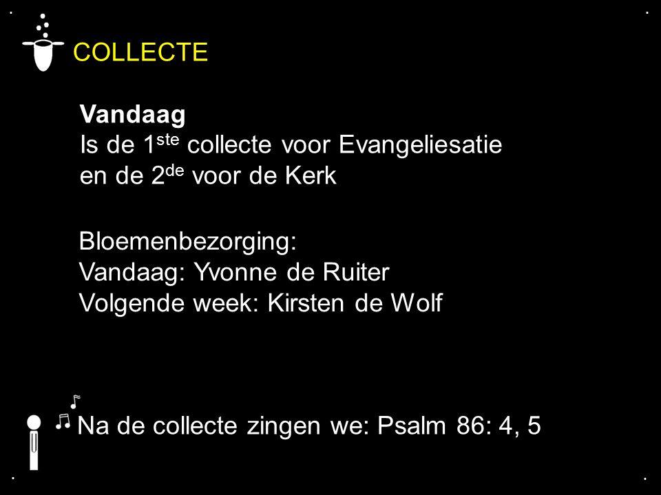 .... COLLECTE Vandaag Is de 1 ste collecte voor Evangeliesatie en de 2 de voor de Kerk Bloemenbezorging: Vandaag: Yvonne de Ruiter Volgende week: Kirs