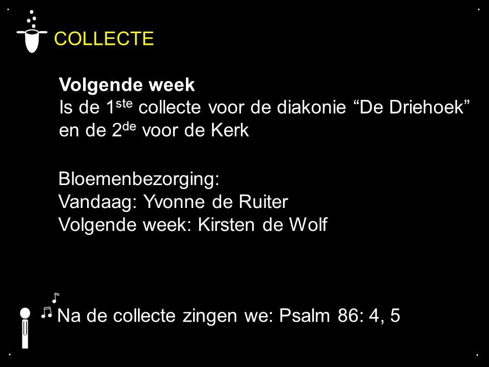 """.... COLLECTE Volgende week Is de 1 ste collecte voor de diakonie """"De Driehoek"""" en de 2 de voor de Kerk Bloemenbezorging: Vandaag: Yvonne de Ruiter Vo"""