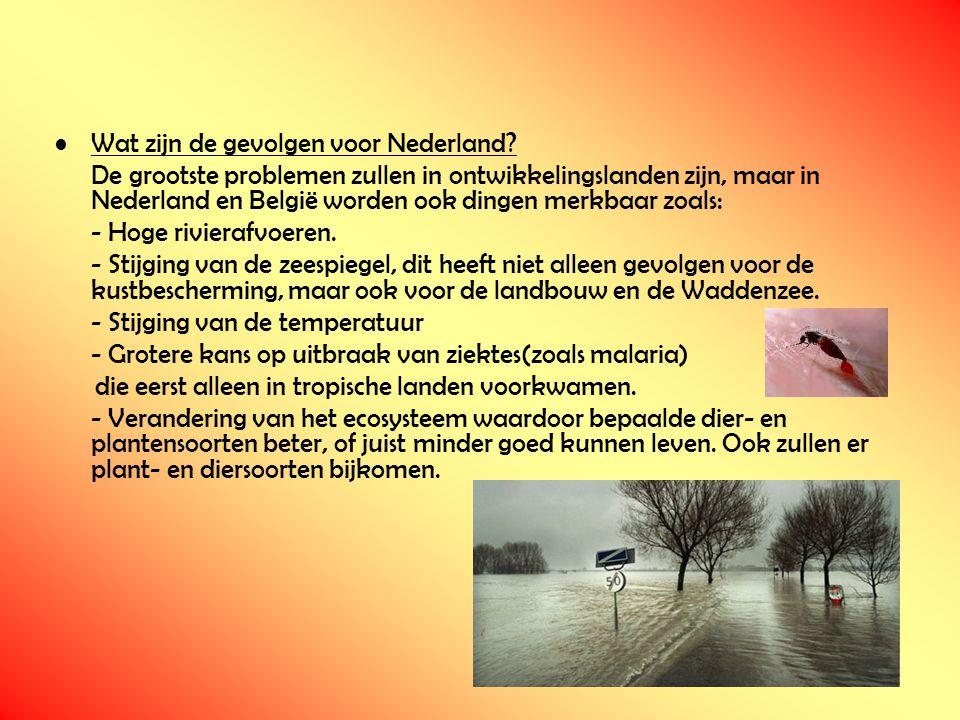 Wat zijn de gevolgen voor Nederland? De grootste problemen zullen in ontwikkelingslanden zijn, maar in Nederland en België worden ook dingen merkbaar