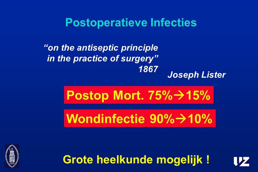 """Postoperatieve Infecties Joseph Lister Grote heelkunde mogelijk ! Wondinfectie 90%  10% """"on the antiseptic principle in the practice of surgery"""" 1867"""