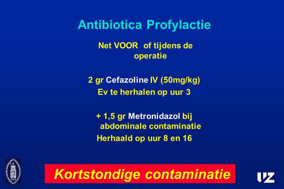 Antibiotica Profylactie Net VOOR of tijdens de operatie 2 gr Cefazoline IV (50mg/kg) Ev te herhalen op uur 3 + 1,5 gr Metronidazol bij abdominale cont