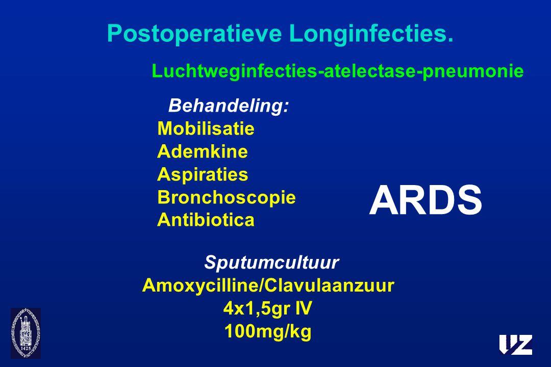 Postoperatieve Longinfecties. Luchtweginfecties-atelectase-pneumonie Behandeling: Mobilisatie Ademkine Aspiraties Bronchoscopie Antibiotica ARDS Sputu