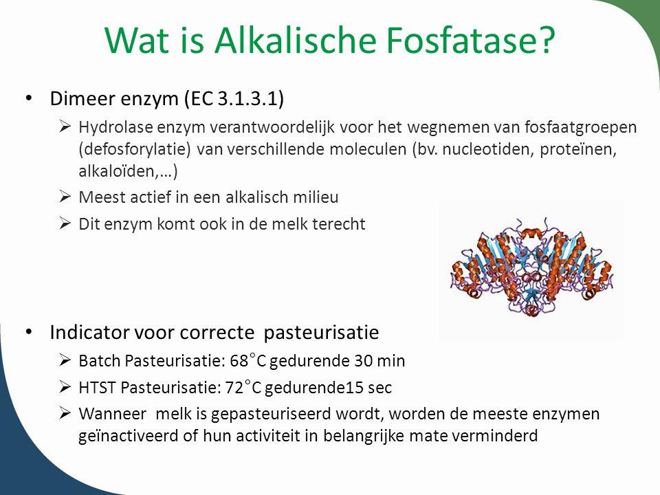 Wat is Alkalische Fosfatase? Dimeer enzym (EC 3.1.3.1)  Hydrolase enzym verantwoordelijk voor het wegnemen van fosfaatgroepen (defosforylatie) van ve