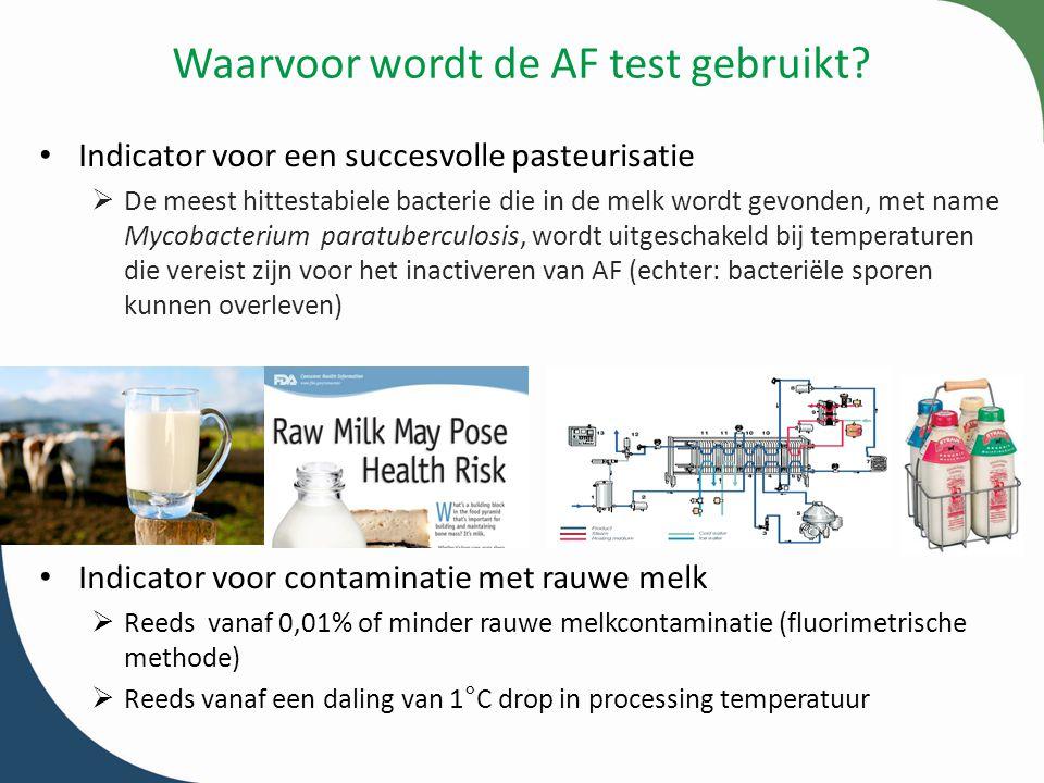 Waarvoor wordt de AF test gebruikt? Indicator voor een succesvolle pasteurisatie  De meest hittestabiele bacterie die in de melk wordt gevonden, met