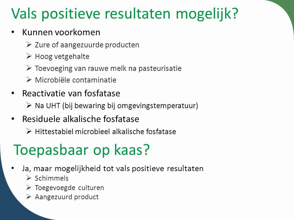 Vals positieve resultaten mogelijk? Kunnen voorkomen  Zure of aangezuurde producten  Hoog vetgehalte  Toevoeging van rauwe melk na pasteurisatie 